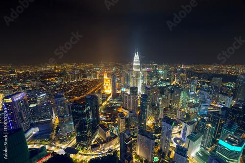Plexiglas Kuala Lumpur Kuala Lumpur Aerial Nightscape