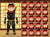 Japanese Ninja Cartoon Emotion faces Vector Illustration