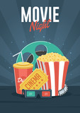 Movie Night. Can be used for flyer, poster, banner, ad, and website background. - 134073855