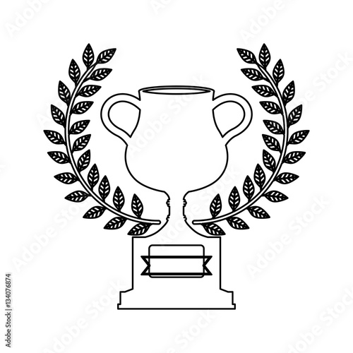 Foto op Plexiglas F1 silhouette monochrome trophy cup with olive crown vector illustration