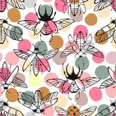 Seamless pattern with hand drawn beetles.