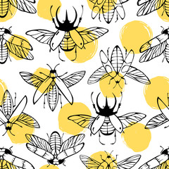 Seamless pattern with hand drawn beetles on a polka dot background.