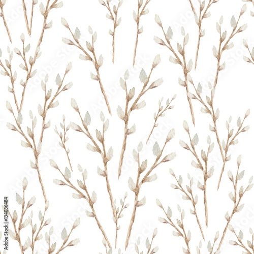 Watercolor seamless Easter repeating pattern with willow branches isolated on white - 134086484