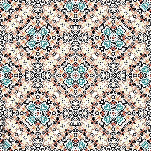 Floral Pattern Blue Brown Flower Weave Elements - 134087454