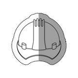 gray silhouette dotted sticker construction helmet icon vector illustration