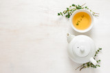 Thyme tea, top view - 134102442