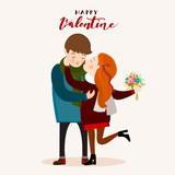 Couple kissing, Valentines day greeting card, vector illustration