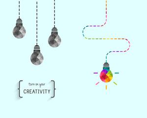 Creativity concept with colorful lightbulb as idea symbol © lvnl