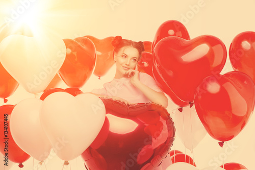Poster Beautiful girl, stylish fashion model with balloons in the shape