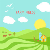 Farm fields landscape. Cartoon green field of sowing.
