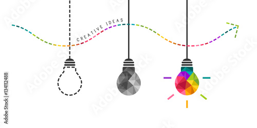 Obraz Developing creativity concept with colorful bulb in the end