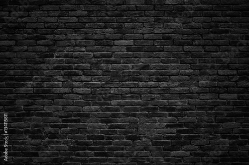 Poster Betonbehang black brick wall, dark background for design