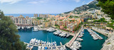 Monte Carlo harbour city panorama. View of luxury yachts and apa