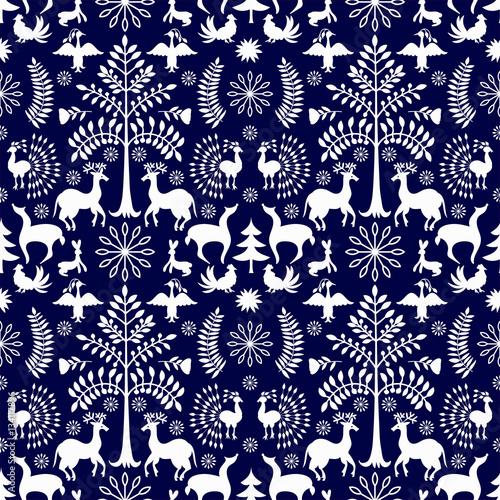 Cotton fabric Otomi Style Winter Pattern