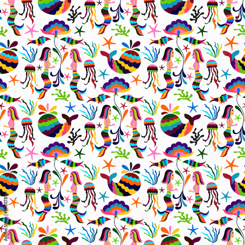 Cotton fabric Vector Otomi Style Seamless Pattern