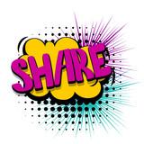 Fototapety Comic text speech bubble share web link