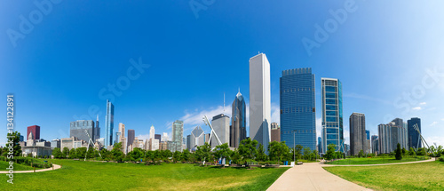 Tuinposter Chicago Green meadow on cityscape background of Chicago