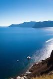 Santorini, Grecja, Oia - Widok z hotelu na morze i wyspy wulkaniczne