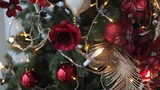 Christmas Tree Decorated With Red Flowers and Feathers