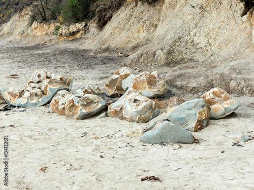 Poster Kugelförmige Steine Moeraki Boulders Küste Neuseeland Otago