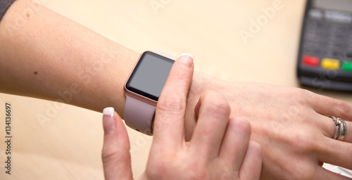 Girl using her iWatch
