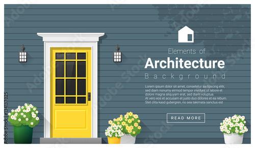 Fridge magnet Elements of architecture , front door background , vector ,illustration