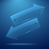Vector realistic 3d transparent gradient arrow on blue background