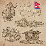 Nepal - Pictures of life. Travel pack. Vector collection. Hand drawings. Set of freehand sketches. - 134145636