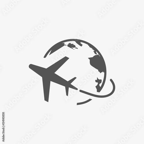 Fototapeta Plane Globe Icon stock vector illustration flat design