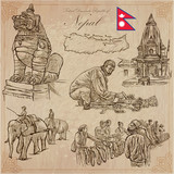 Nepal - Pictures of life. Travel pack. Vector collection. Hand drawings. Set of freehand sketches. - 134146465