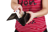 purse with money in the hands of women, spending money