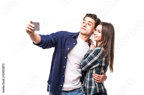 Young couple take selfie on white Poster