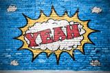 Yeah Comic  Ziegelsteinmauer Graffiti