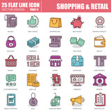 Line online shopping and retail icons