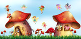 Scene with fairies flying around mushroom houses