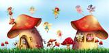 Scene with fairies flying around mushroom houses