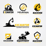 Fototapety logo collection set of Backhoe excavator equipment service template.