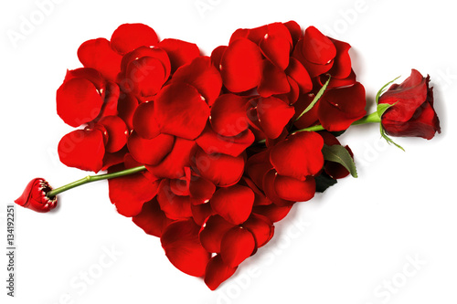 Red rose petals heart