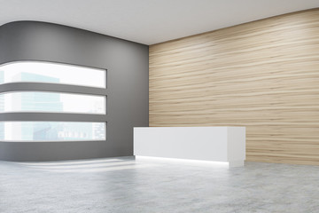 office with wooden walls, reception