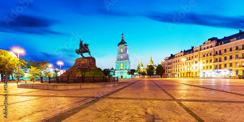 Poster Kiev Evening scenery of Sofia Square in Kyiv, Ukraine