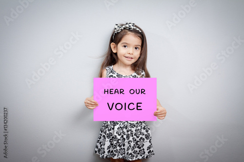 women march concept , cute girl with pink creative protest sign in her hand Poster