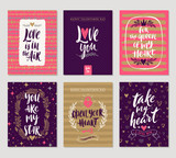 Vector set of Valentines Day hand drawn posters or greeting card with handwritten calligraphy quotes, phrase and illustrations.