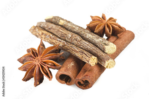 Poster Cinnamon stick Licorice and Star Anise on the white