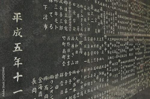 Poster Japanische Schriftzeichen am Eingang eines Tempels