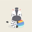 Vector cartoon character of little funny zebra.
