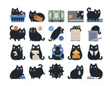 Business Finance Cat Icon Set Black