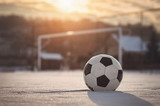 Soccer sunset at winter - 134217830