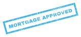 Mortgage Approved text rubber seal stamp watermark. Caption inside rectangular shape with grunge design and unclean texture. Inclined vector blue ink sticker on a white background.