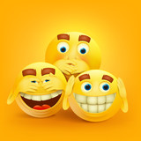 Set of three yellow smiley faces concept card