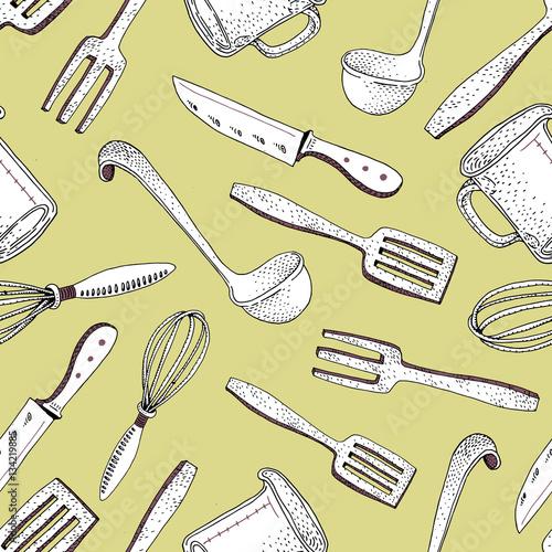 Wektorowa ręka rysujący kuchnia wytłacza wzory bezszwowego wzór.